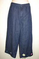 Austin Clothing Sz 8 Blue Jean Embroidered Hems Cropped Capri Jeans Pants