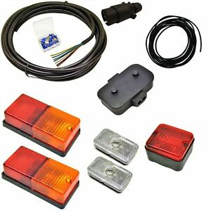 Details about 10m Trailer Light Wiring Kit Rear Lights, Front Markers, on
