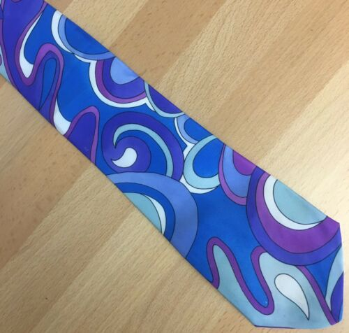 Vintage Tie 1980s Swirly Colours Blue White Purple Abstract Pattern NEW
