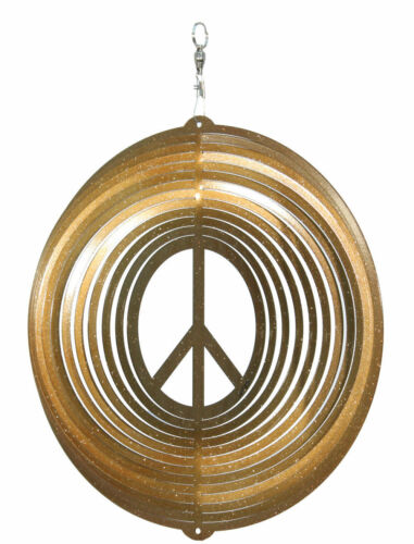 SWEN Products WOODSTOCK PEACE SIGN CIRCLE Swirly Metal Wind Spinner