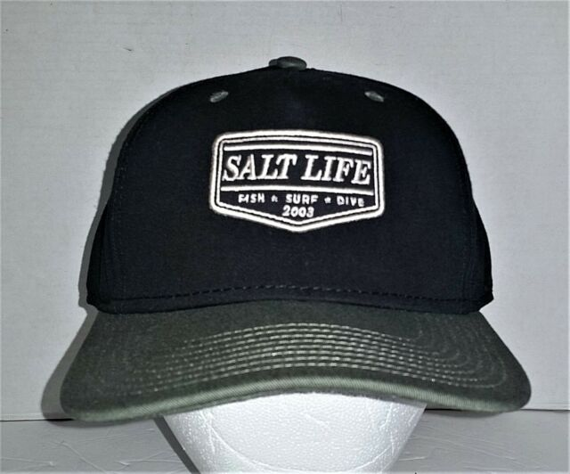 NWT Salt Life Fishing Embossed Baseball Cap Cotton Black Size Fits Most 87d42069a83