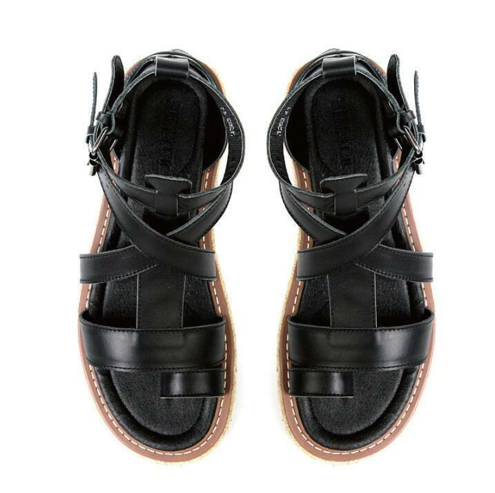 Mens Leather Buckle Strap Gladiator Roman Flip flops Casual Summer Sandals shoes