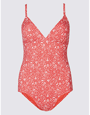 BNWT M/&S COLLECTION Secret Slimming Red Mix Plunge Swimsuit Sz 10 12 U898//1