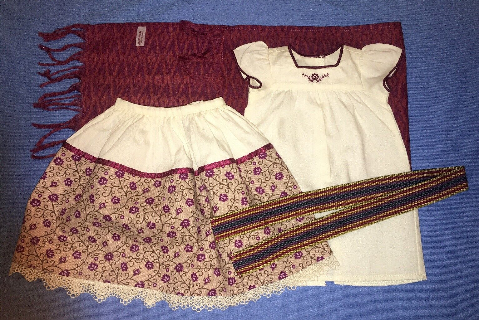 American Girl Josefina Weaving Outfit with Rebozo, Camisa, Belt COMPLETE
