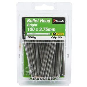 Paslode-BULLET-HEAD-NAILS-100x3-75mm-50-Pcs-Bright-Steel-amp-Plain-Shank-AUS-Brand