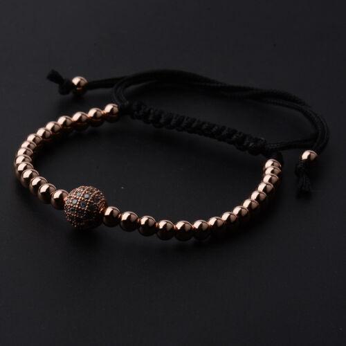 2018 Fashion Homme 18k Or Plaqué Zircon Cubique 4 mm perles zircon Tressé MACRAME BRACELETS