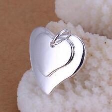Jewelry Sterling Silver Fine Double Heart Love Shape Pendant Drop Special F Gift