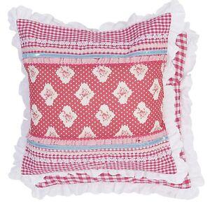 pretty kissenbezug pink wei karo 40x40 kissen h lle clayre landhausstil ebay. Black Bedroom Furniture Sets. Home Design Ideas