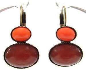 SoHo-Ohrhaenger-vintage-boehmisches-glas-1960-s-orange-coral-rot-dark-bronze-60er