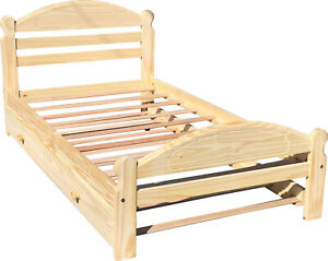 Wooden-Twin-Bed-with-Trundle-Children-Solid-Pine-Bed-Unfinished-Solid-Pine-Wood