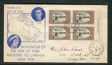 1939 Royal Visit Train FDC Ottawa CDS Cancel on Map Cachet Cover w Plate Block