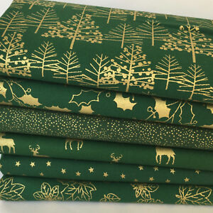 Silver /& white Christmas fabric bundles /& fabrics per half metre 100/% cotton