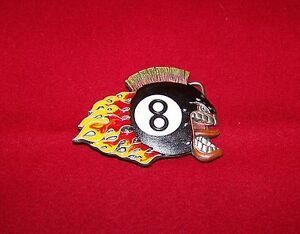 Details about Brand New Enameled Flaming 8 Ball Belt Buckle