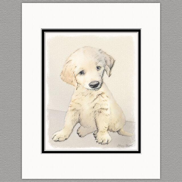 Golden Retriever Puppy Original Print 8x10 Matted to 11x14 ...