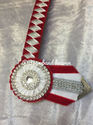 "White and Silver  Diamante Show Browband Made 2 Order 3//4/"" Leather Base.. Red"