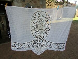 Stunning-Antique-French-Handmade-Tape-Lace-Fine-Voile-Curtain-Panel-c1910-20