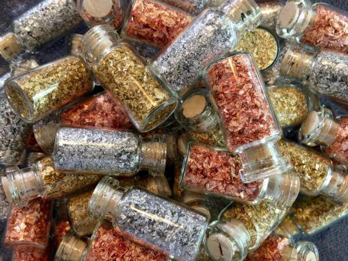 6 Large Bottles of.. Gold - Silver - Copper Leaf Flakes.. Best price online !!