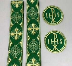 Px-Cruz-Emblems-Banda-Vestment-Neon-Oro-en-Verde-7-PC-Lote-Paquete