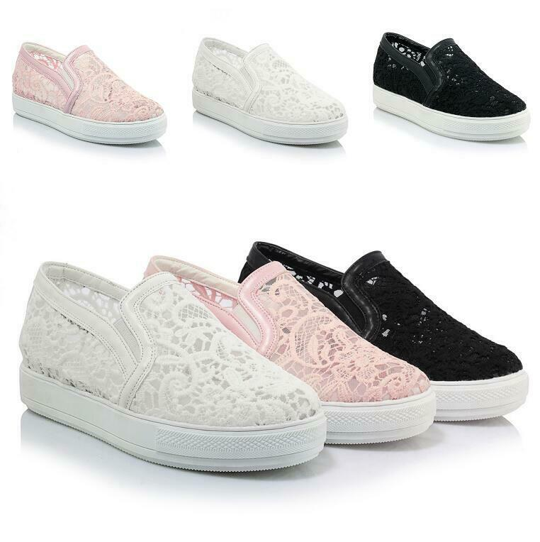 Womens Loafers Pumps shoes Mesh Lace Breathable Slip on Hollow out Spring Casual