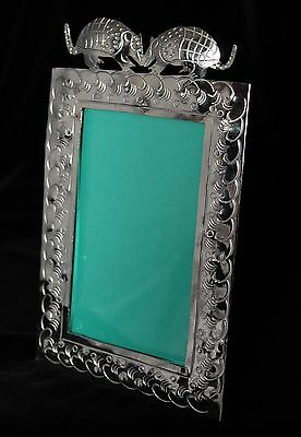 Picture Frame with 2 Kissing Armadillos, Alpaca Nickel Sliver Mexican Folk Art