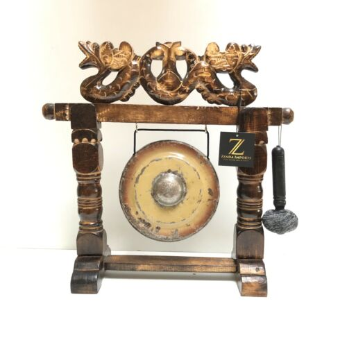 Gong Decorative On Wood Stand Hand Carved Two Headed Dragon By Zenda Imports