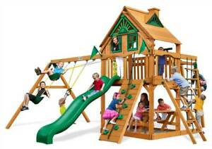 Tree House Swing Set With Rope Ladder And Amber Posts Id 3425685