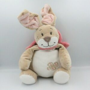 Grand-Doudou-lapin-beige-blanc-noeud-rose-Oscarine-NOUKIE-039-S-35-cm-Lapin-Grand
