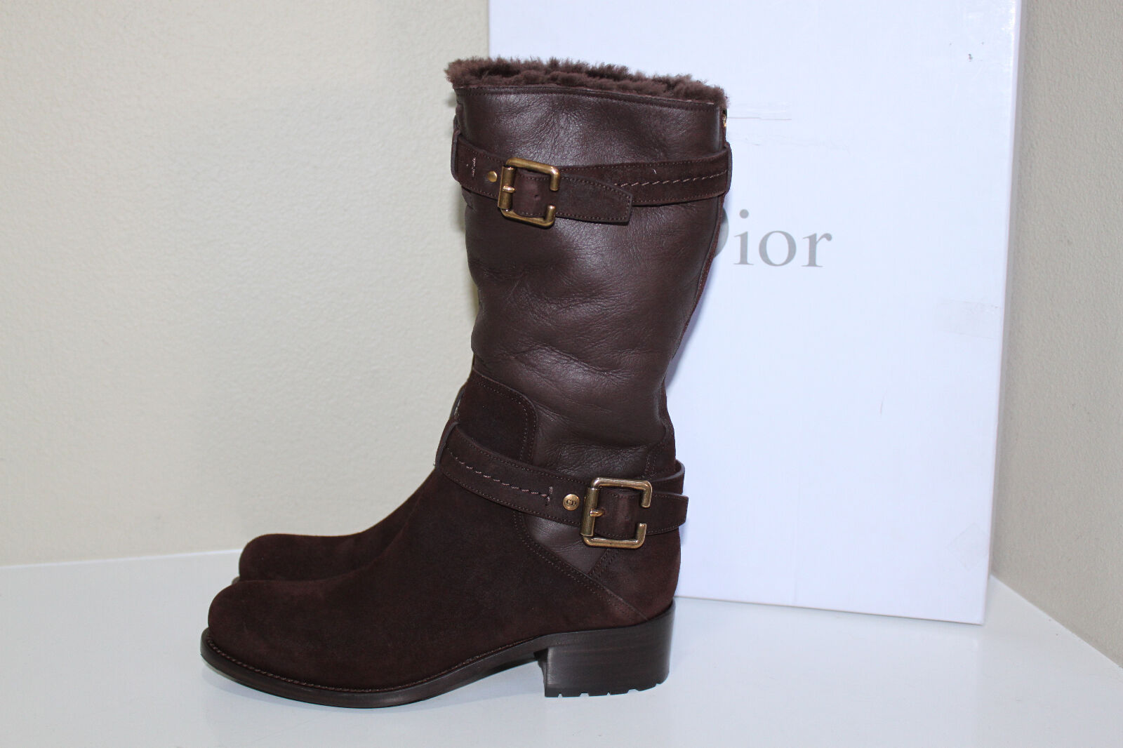 l'intera rete più bassa New 7.5   37.5 Christian Dior Cement leather & & & Suede buckle strapped avvio scarpe  outlet in vendita