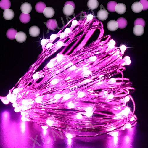 10//20//100 LED Fairy String Lights Battery Micro Rice Wire Silver Party white rgb