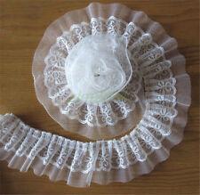 4cm 2yd Vintage White Pleated Organza Lace Edge Trim Gathered Ribbon Sewing L53