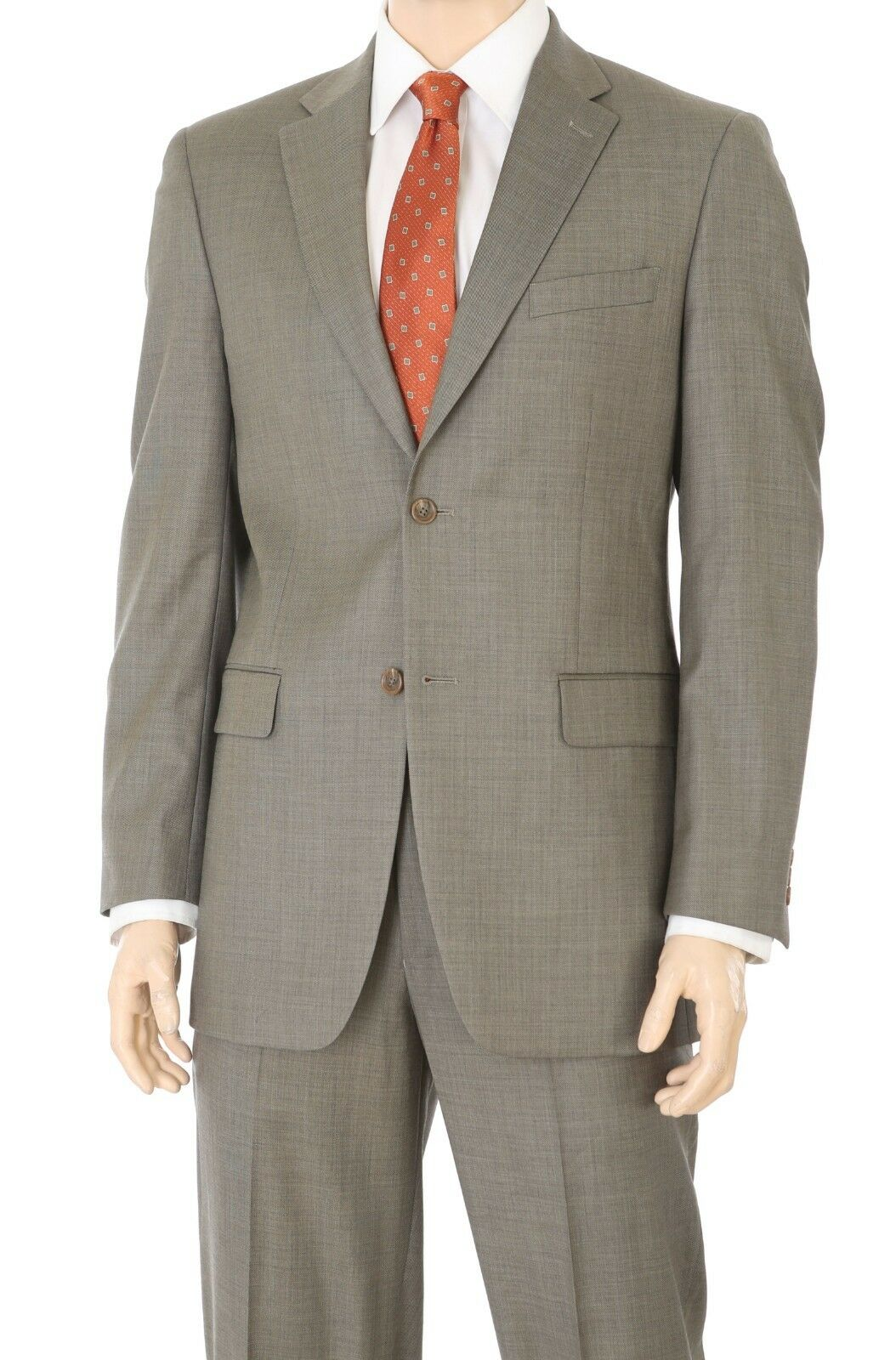 Jones New York Tan Brown 100% Wool Classic Fit Two Button Suit 36S 29.5W