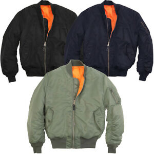 Mens-Classic-MA-1-Heavy-Brass-Zip-Reversible-Orange-Flight-Pilot-Bomber-Jacket