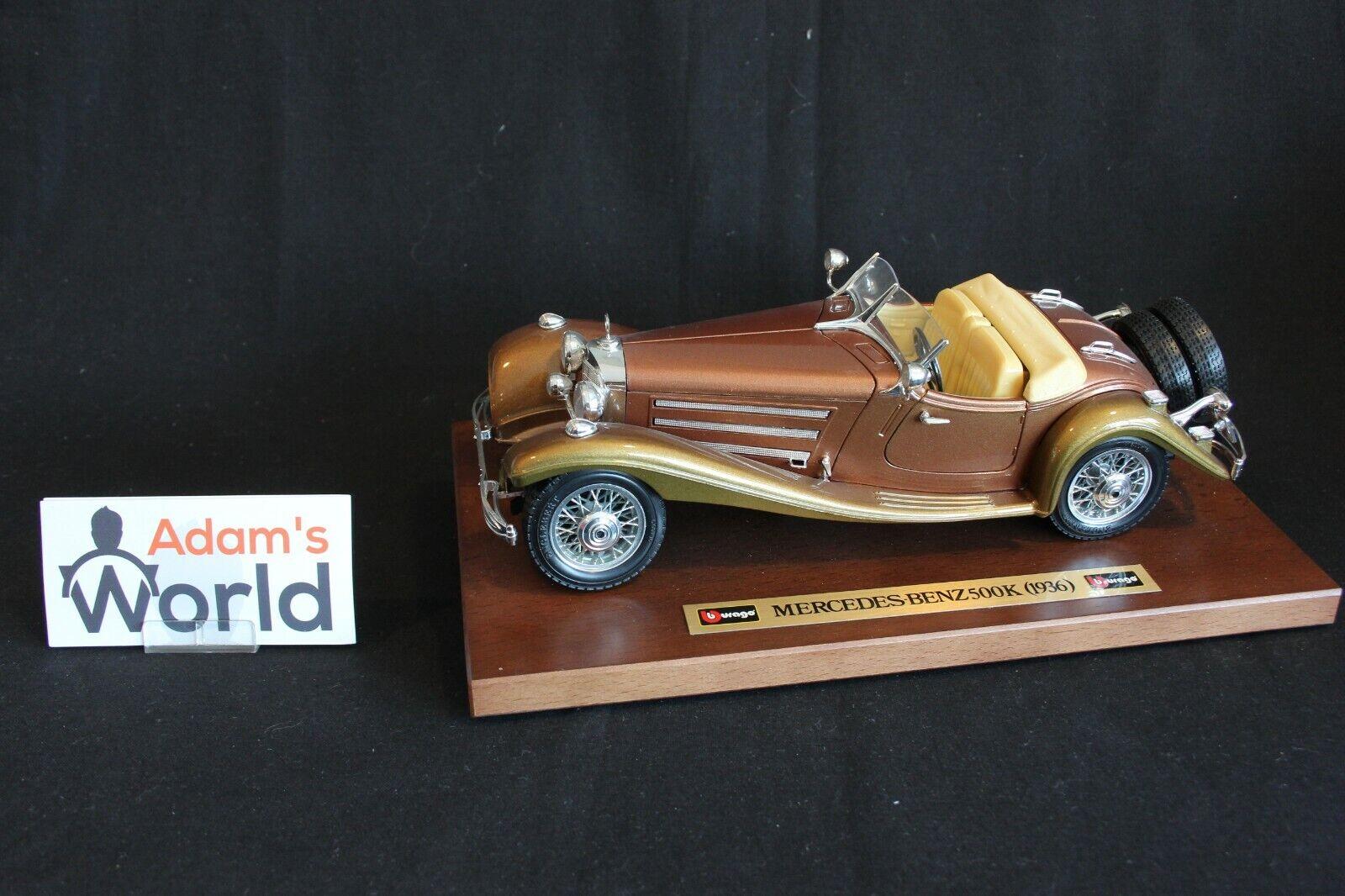 Bburago Mercedes-Benz 500 K Cabriolet 1936 1 18 Marronee mettuttiic wooden base (JS)