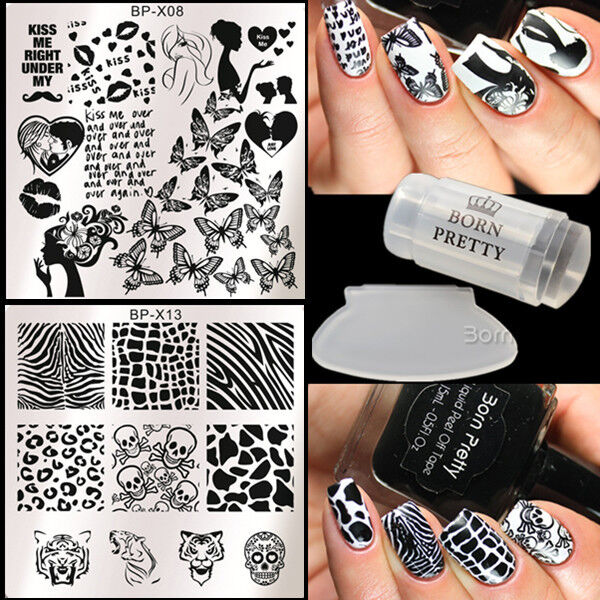 4Pcs Nail Art Stamp Image Plates Polish Stamper W/Scraper BORN PRETTY Animal Lip