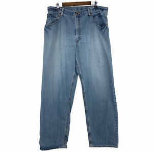 Levi's SilverTab Baggy VTG 90s Distressed Light Blue Cotton Denim Jeans 38 x 34