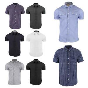 Para-hombres-camisa-normal-por-alma-valiente-034-Mombassa-034-Casual-de-Manga-Corta-En-Algodon-S-M-L