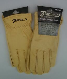 Two-2-Pairs-RANCHER-by-Plainsman-Cabretta-Goatskin-Leather-Gloves-MEDIUM-New