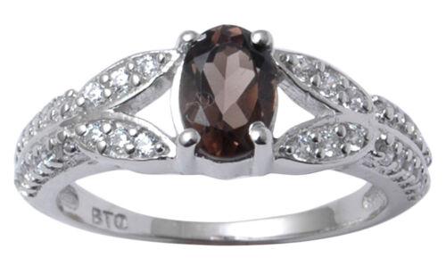 925 Sterling Silver Ring Smoky Topaz Stone Fashion Band Ring Jewelry-SJR47-PAR