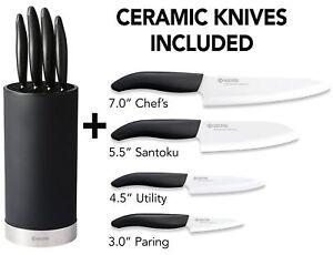 Kyocera 5pc Universal 4 Ceramic White Blade Knife & Black Soft Touch Block Set Nouveau Design (En);