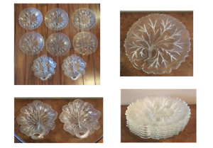 VINTAGE-Indiana-Glass-8-Piece-Luncheon-Set-PEBBLE-LEAF-6-Plates-2-Divided-Dishes