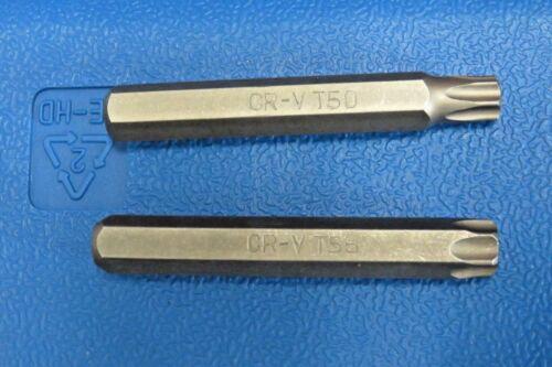 "TORX T50 /& T55 SET OF 10mm 3//8/"" Insert Bits for Mechanic/'s Sets 75mm long"