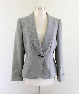Tahari-ASL-Levine-Black-White-Gray-Herringbone-One-Button-Blazer-Jacket-Size-8