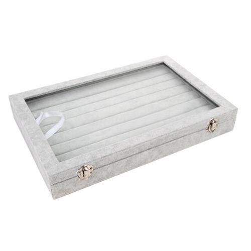 Velvet Jewelry Earring Display Tray Organizer Holder Storage Box Casew//Glass Lid