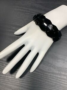 Ladies Women's Classic  Vintage Jet Black Glass Chunky Stretch Bracelet