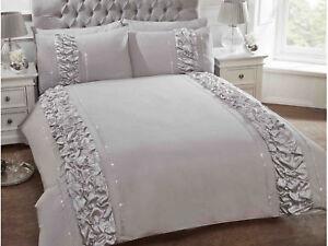Copripiumino Elegante.Grey Silver Luxury Bedding Set Duvet Cover With Frill And Diamante