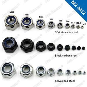 Locknut Hex nut Hexagon Locknuts with Nylon Insert Stainless Steel Black  M2-M12
