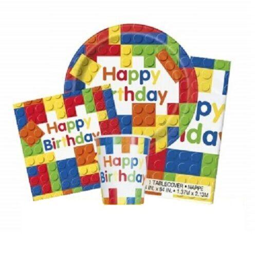 Tableware /& Decorations {UNIQUE} BUILDING BLOCKS Birthday Party Range Lego