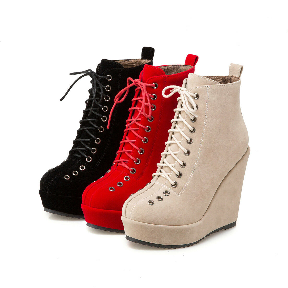 Lady's High Heel Wedge shoes Suede Fabric Round Toe Lace-Up Ankle Platform Boots