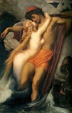 Paisaje Marino Pescador y Syren Sirena Leighton Lienzo o cartel de Impresión Fine Art