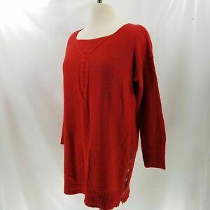 Zara-Knit-Tunic-M-Sweater-Lace-Up-Zipper-Split-Chunky-Cable-L-S-Winter